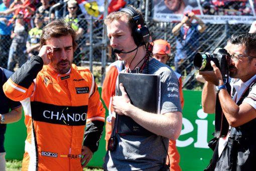 Foto Poster Fernando Alonso tijdens de GP van Italie, F1 McLaren Team 2017