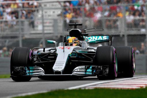 Foto Poster Lewis Hamilton tijdens de GP van Canada, F1 Mercedes Team 2017