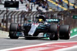 Foto Poster Lewis Hamilton tijdens de GP van Brazilie, F1 Mercedes Team 2017