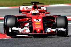 Foto Poster Sebastian Vettel tijdens de GP van Spanje, F1 Ferrari Team 2017