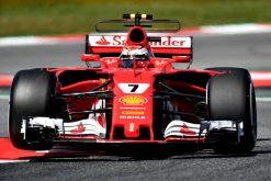 Foto Poster Kimi Raikkonen tijdens de GP van Spanje, F1 Ferrari Team 2017