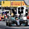 Foto Poster Lewis Hamilton tijdens de GP van Spanje, F1 Mercedes Team 2017