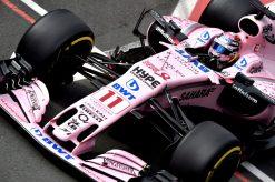 Foto Poster Sergio Perez tijdens de GP van Engeland, F1 Force India Team 2017