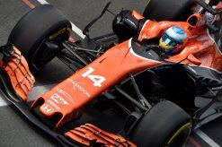 Foto Poster Fernando Alonso tijdens de GP van Engeland, F1 McLaren Team 2017