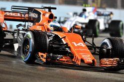 Foto Poster Fernando Alonso tijdens de GP van Singapore, F1 McLaren Team 2017