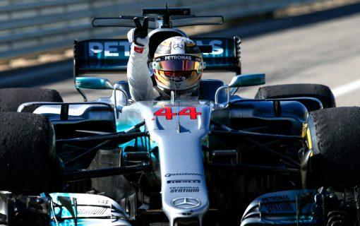 Foto Poster Lewis Hamilton tijdens de GP van Amerika, F1 Mercedes Team 2017