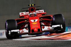 Foto Poster Kimi Raikkonen tijdens de GP van Abu Dhabi, F1 Ferrari Team 2017