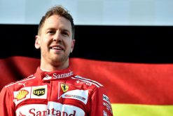 Foto Poster Sebastian Vettel tijdens de GP van Australie, F1 Ferrari Team 2017