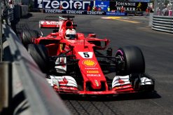 Foto Poster Sebastian Vettel tijdens de GP van Monaco, F1 Ferrari Team 2017