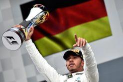 Foto Poster Lewis Hamilton tijdens de GP van Belgie, F1 Mercedes Team 2017