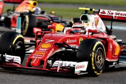 Kimi Raikkonen - Ferrari in actie tijdens de Grand Prix van Abu-Dhabi 2016.