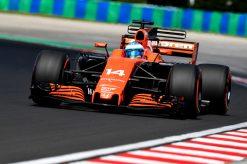 Foto Poster Fernando Alonso tijdens de GP van Hongarije, F1 McLaren Team 2017