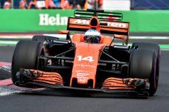 Foto Poster Fernando Alonso tijdens de GP van Mexico, F1 McLaren Team 2017