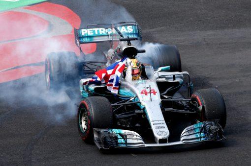 Foto Poster Lewis Hamilton tijdens de GP van Mexico, F1 Mercedes Team 2017
