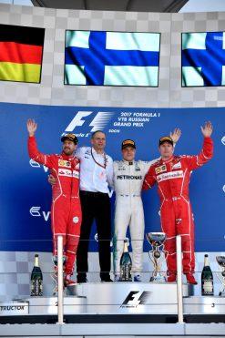Foto Poster Valtteri Bottas tijdens de GP van Rusland, F1 Mercedes Team 2017