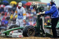 Foto Poster Eddy Irvine Crash tijdens de GP van Duitsland, F1 Jaquar Team 2000
