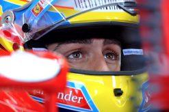 Foto Poster Fernando Alonso Helm-shot tijdens de F1 Grand Prix Belgie 2010