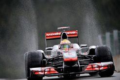Foto Poster Lewis Hamilton tijdens de GP van Belgie, F1 McLaren Team 2011