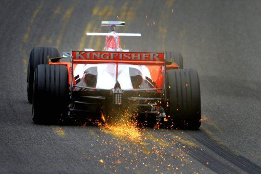 Foto Poster Giancarlo Fisichella tijdens de GP van Belgie, F1 Force India Team 2008