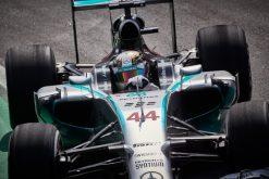 Foto Poster Lewis Hamilton tijdens de GP van Brazilie, F1 Mercedes Team 2014