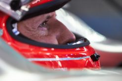 Foto Poster Michael Schumacher Helm shot tijdens de F1 Grand Prix Brazilie 2012
