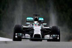 Foto Poster Lewis Hamilton tijdens de GP van Belgie, F1 Mercedes Team 2014