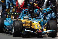 Foto Poster Fernando Alonso Pitstop tijdens de F1 Grand Prix Canada 2006