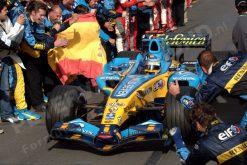 Foto Poster Fernando Alonso wint met zijn Team Renault de Constructeurs WK titel tijdens de GP van China 2006