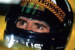 Foto Poster Damon Hill Helm shot tijdens de GP van Hongarije, F1 Jordan Team 1998