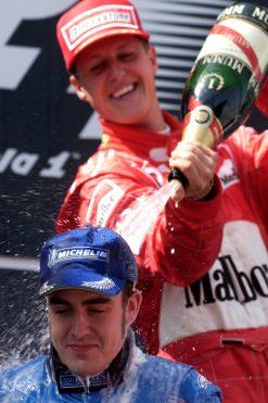 Foto Poster Fernando Alonso met Michael Schumacher op het podium F1 GP Spanje 2003