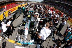 Foto Poster Lewis Hamilton tijdens de GP van Spanje, F1 Mercedes Team 2015