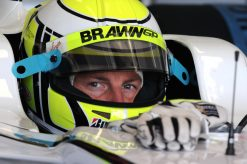 Foto Poster Jenson Button Helm shot tijdens de GP van Spanje, F1 Brawn GP Team 2009