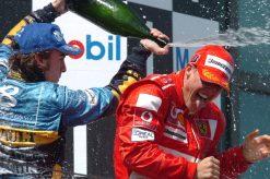 F1 Poster Michael Schumacher op het podium met Fernando Alonso, 2004