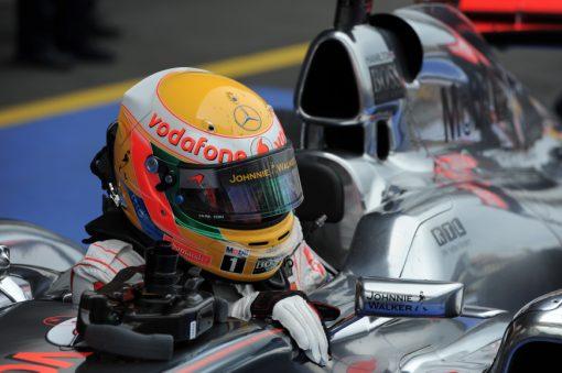 Foto Poster Lewis Hamilton tijdens de GP van Duitsland, F1 McLaren Team 2011