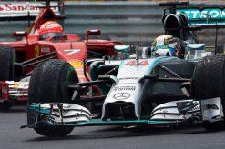 Foto Poster Lewis Hamilton tijdens de GP van Hongarije, F1 Mercedes Team 2014