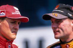 Foto Poster Jos Verstappen met Michael Schumacher tijdens de GP van Duitsland, F1 Arrows Team 2000