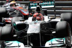 Foto Poster Michael Schumacher in Actie tijdens de F1 Grand Prix Monaco 2011