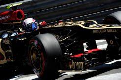Foto Poster Romain Grosjean in actie tijdens de GP van Monaco, F1 Lotus Team 2013