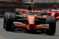 Foto Poster Christijan Albers in actie tijdens de GP van Monaco, F1 Spyker Team 2007