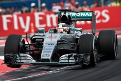 Foto Poster Lewis Hamilton tijdens de GP van Mexico, F1 Mercedes Team 2015