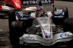 Foto Poster Jacques Villeneuve tijdens de GP van Monaco, F1 Sauber Team 2006