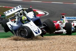 Foto Poster Ralf Schumacher Crash tijdens de GP van Europa, F1 Williams Team 2004