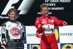 F1 Poster Michael Schumacher op het podium met Jenson Button 2004