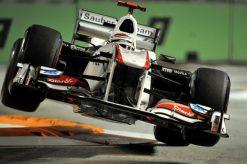Foto Poster Kamui Kobayashi in actie tijdens de GP van Singapore, F1 Sauber Team 2011