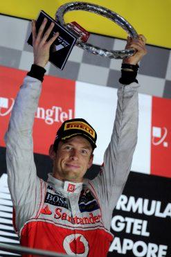 Foto Poster Jenson Button tijdens de GP van Singapore, F1 McLaren Team 2012