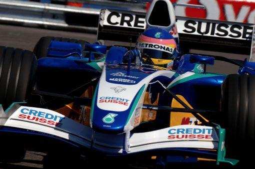 Foto Poster Jacques Villeneuve tijdens de GP van Monaco, F1 Sauber Team 2005