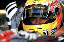 Foto Poster Lewis Hamilton tijdens de GP van Belgie, F1 McLaren Team 2008