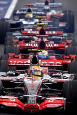 Foto Poster Lewis Hamilton tijdens de GP van Belgie, F1 McLaren Team 2007
