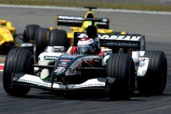 Foto Poster Jos Verstappen tijdens de GP van Europa, F1 Minardi Team 2003