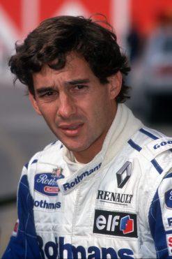 Portret van Ayrton Senna van het F1 Team Williams tijdens de Grand Prix van Italie, Formule 1 Seizoen 1994.